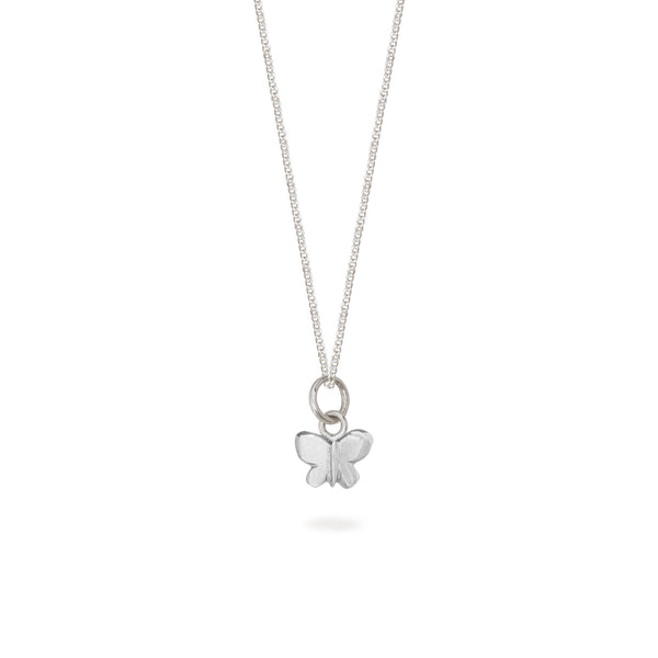 Tiny Butterfly Charm Necklace Sterling Silver