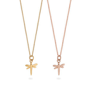 Dragonfly Charm Necklace Gold or Rose Gold Vermeil