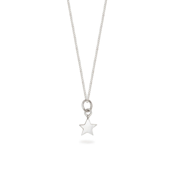 Tiny Star Charm Necklace Sterling Silver