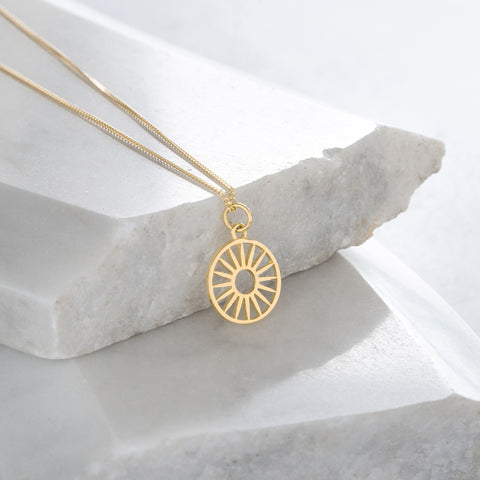 Wagon Wheel Token Charm Necklace Gold Vermeil