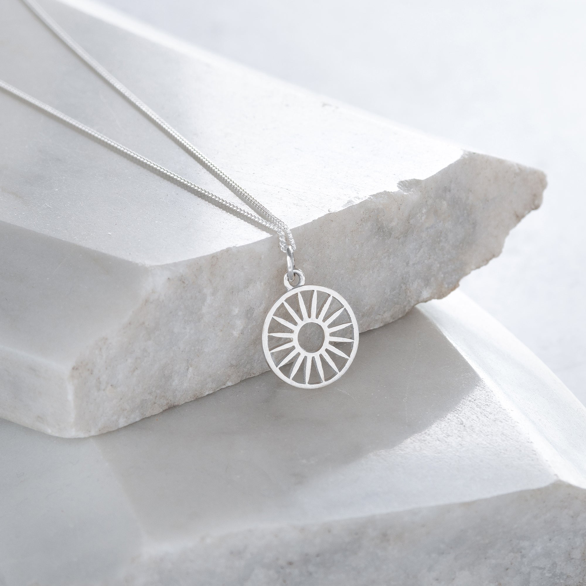 Wagon Wheel Token Charm Necklace Sterling Silver