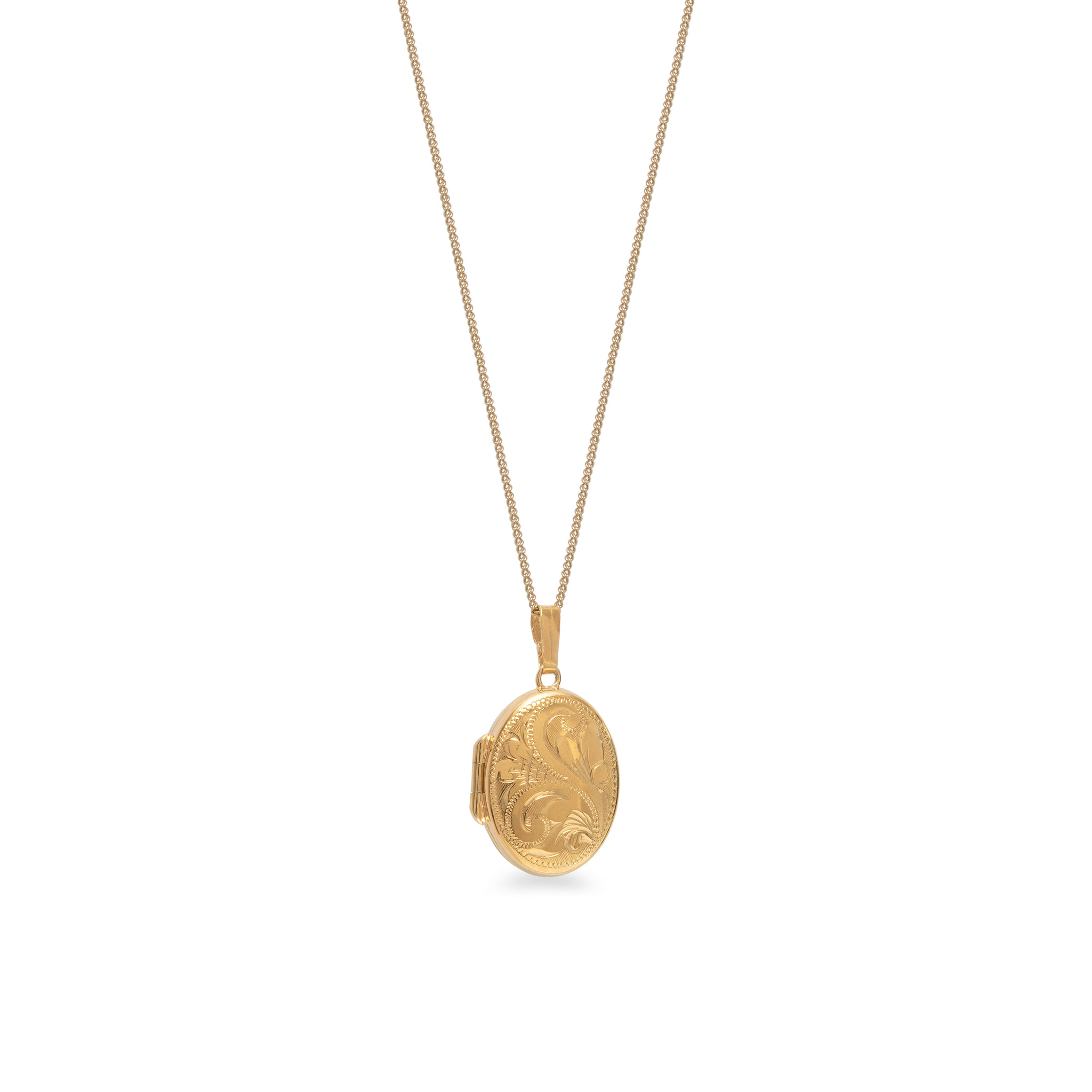 Engraved Oval Locket Necklace Rolled Gold