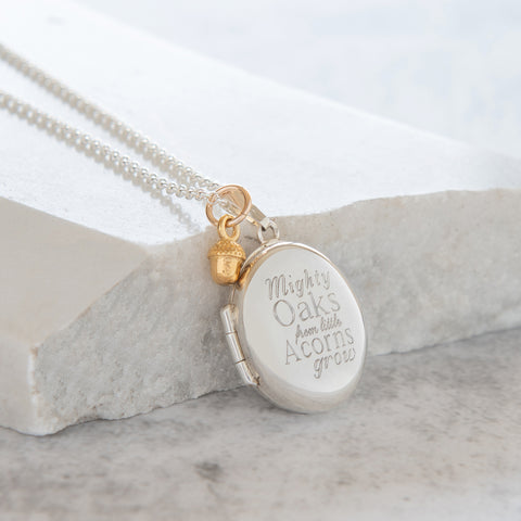 Personalised 'Mighty oaks from little acorns grow' Oval Locket Necklace Sterling Silver