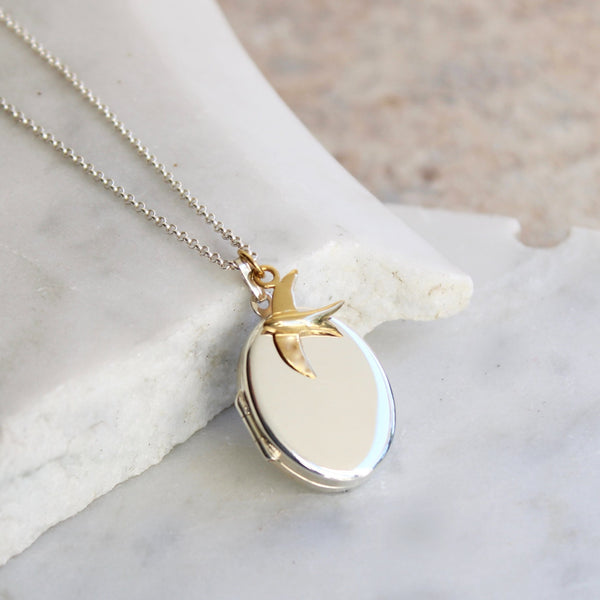 Personalised Oval Locket with Swallow Necklace Sterling Silver