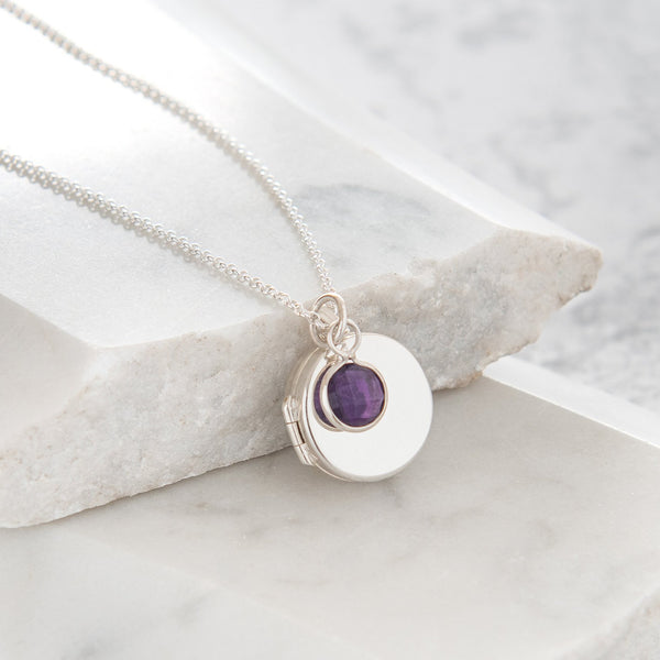 Personalised Round Locket with Birthstone Necklace Sterling Silver
