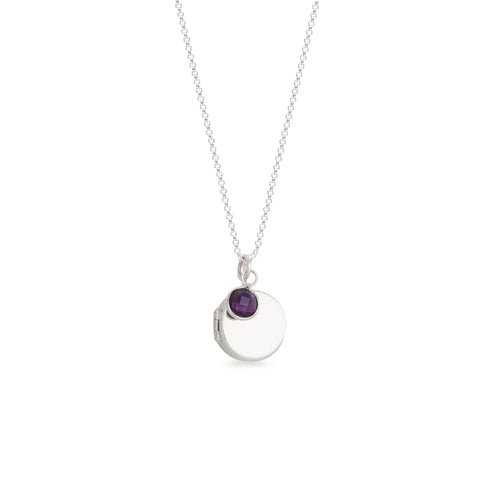 Round Locket with Birthstone Necklace Sterling Silver
