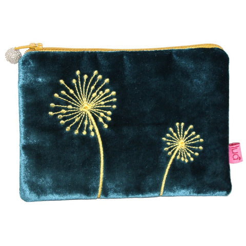 Velvet Coin Purse with Allium Appliqué: Dark Turquoise