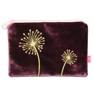 Velvet Coin Purse with Allium Appliqué: Fig