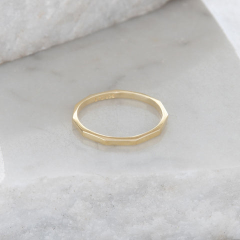 Hexagon Stacking Ring Gold Vermeil