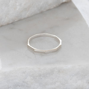 Hexagon Stacking Ring Sterling Silver