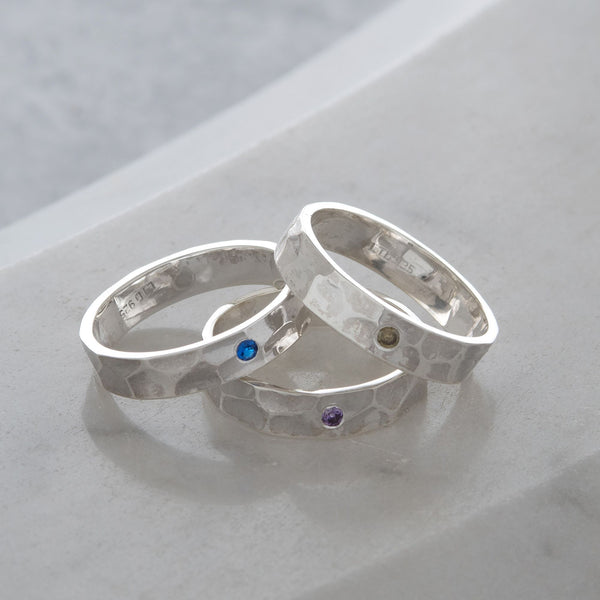 Hammered Birthstone Stacking Ring Sterling Silver