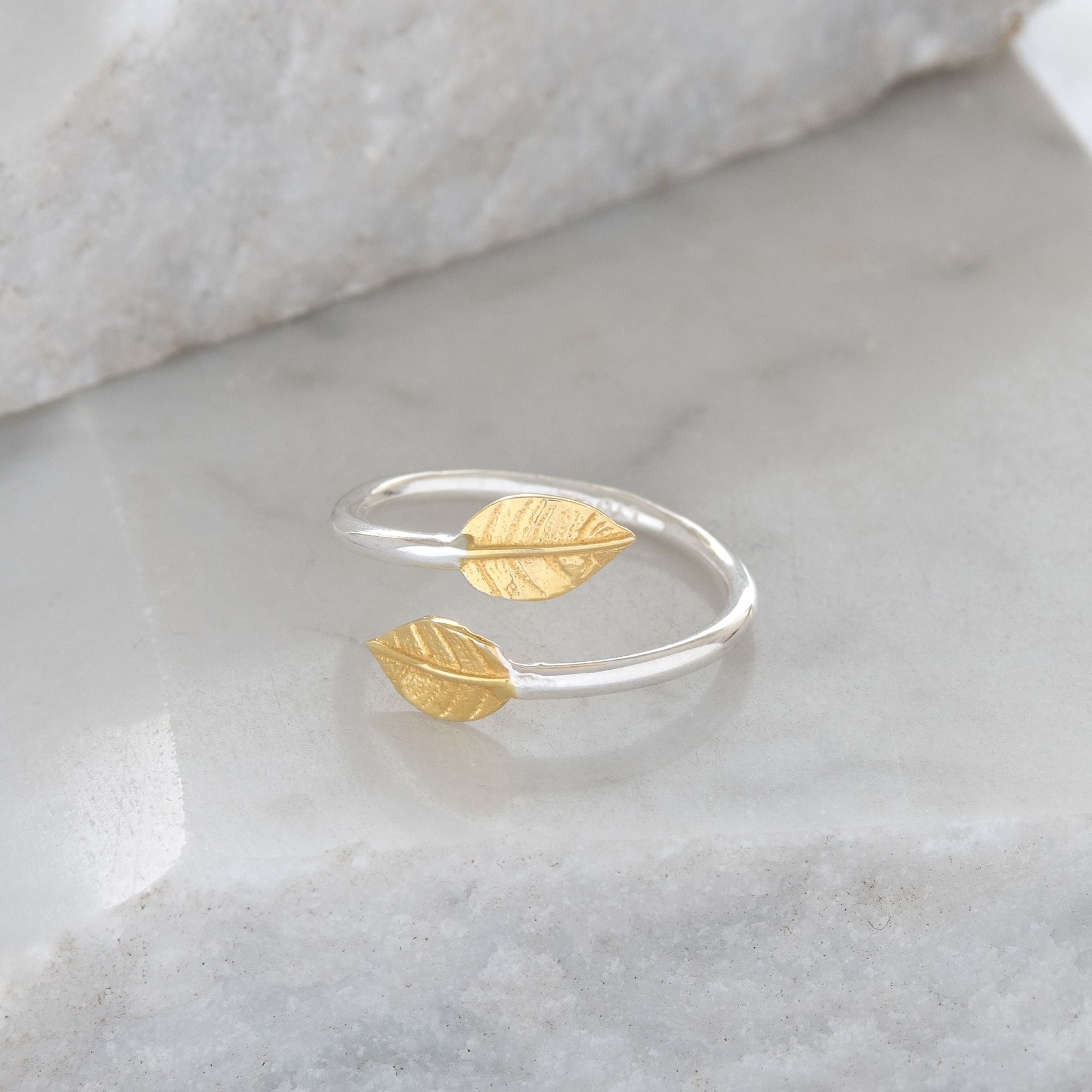 Adjustable Double Leaf Charm Ring Sterling Silver and Gold Vermeil