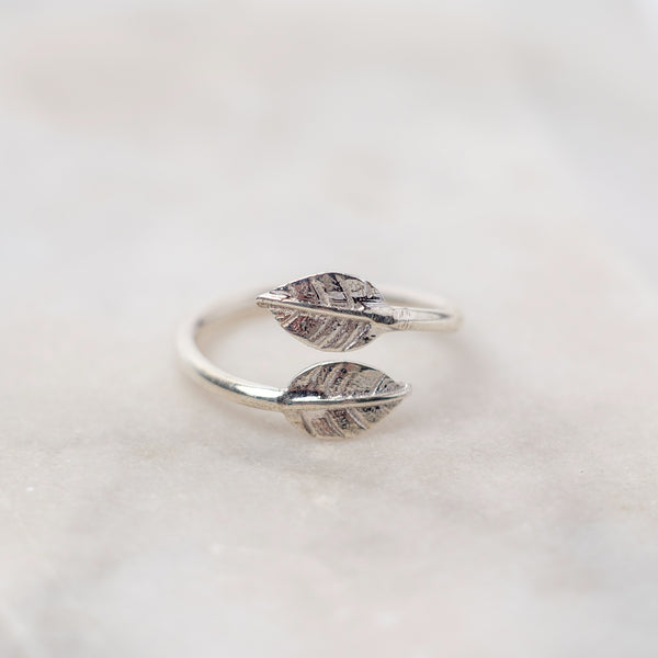 Adjustable Double Leaf Charm Ring Sterling Silver