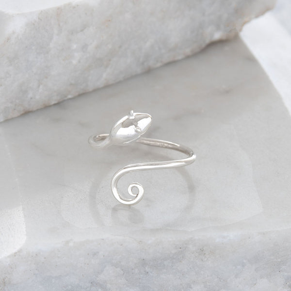 Adjustable Mouse Charm Ring Sterling Silver