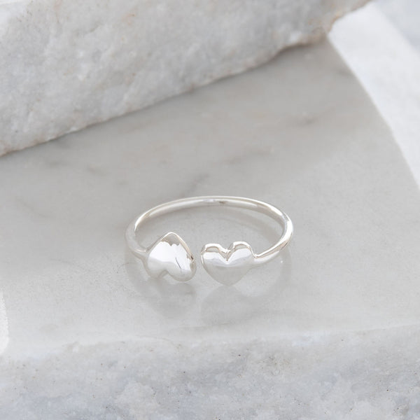 Adjustable Double Heart Charm Ring Sterling Silver