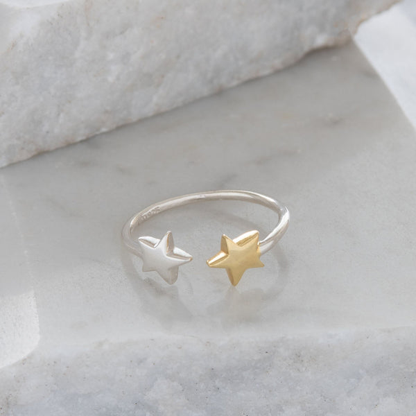 Adjustable Double Star Charm Ring Sterling Silver and Gold Vermeil