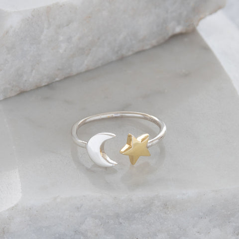 Adjustable Moon and Star Charm Ring Sterling Silver and Gold Vermeil