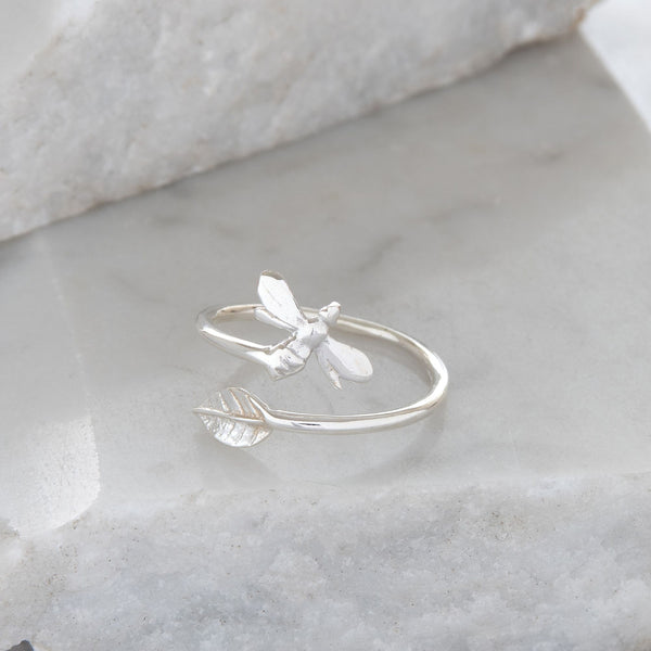 Adjustable Bee and Leaf Charm Ring Sterling Silver