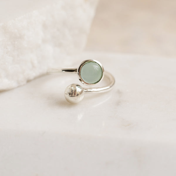 Adjustable Birthstone Ring March: Sterling Silver and Aqua