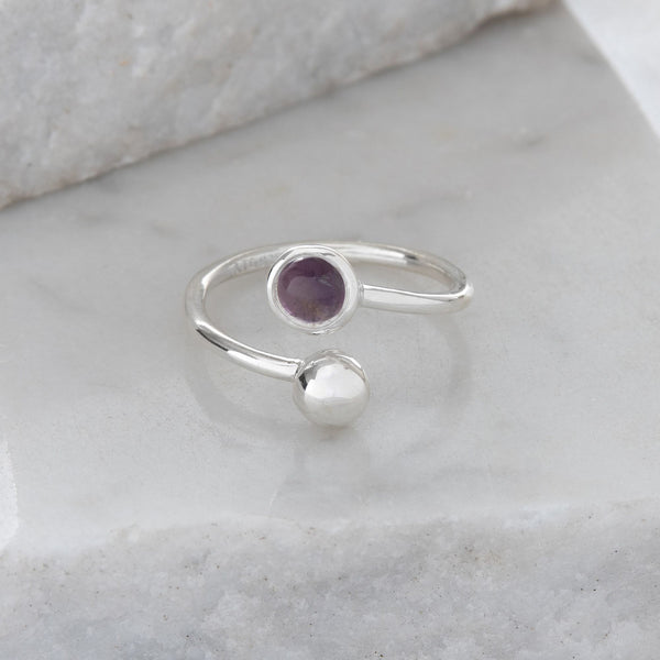 Adjustable Birthstone Ring February: Sterling Silver and Amethyst