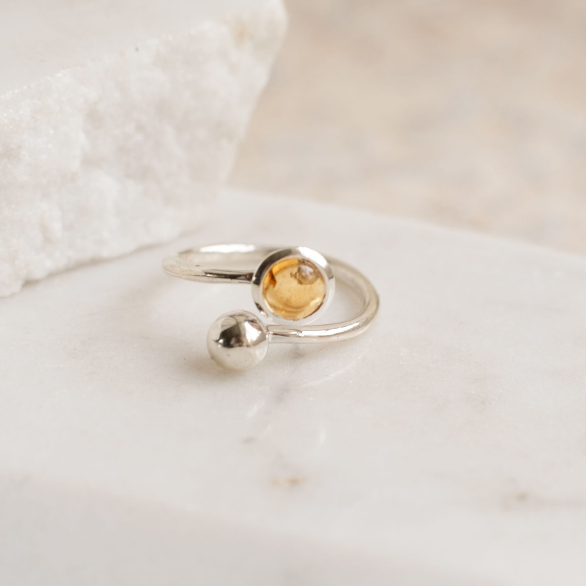 Adjustable Birthstone Ring November: Sterling Silver and Citrine
