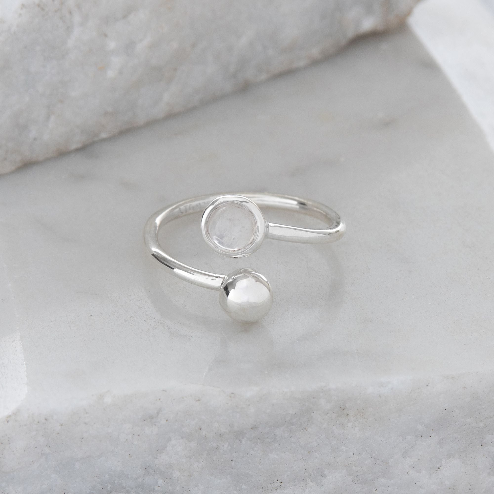 Adjustable Birthstone Ring June: Sterling Silver and Moonstone