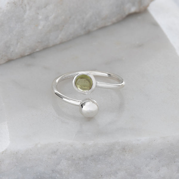 Adjustable Birthstone Ring August: Sterling Silver and Peridot