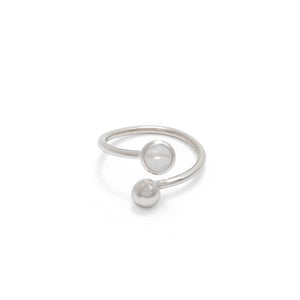 Adjustable Birthstone Ring April: Sterling Silver and Rock Crystal