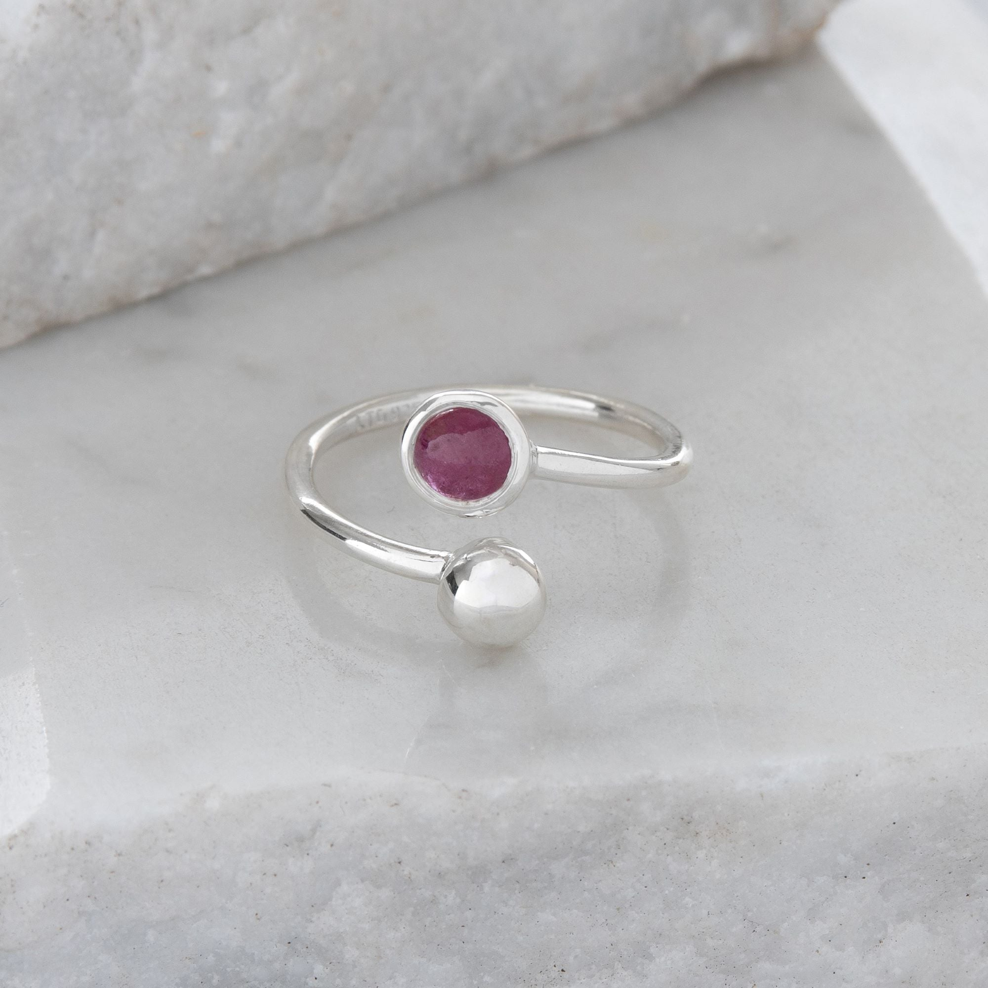 Adjustable Birthstone Ring July: Sterling Silver and Ruby