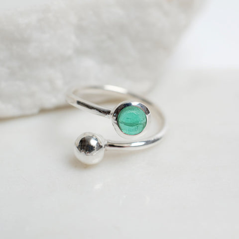 Adjustable Birthstone Ring May: Sterling Silver and Emerald