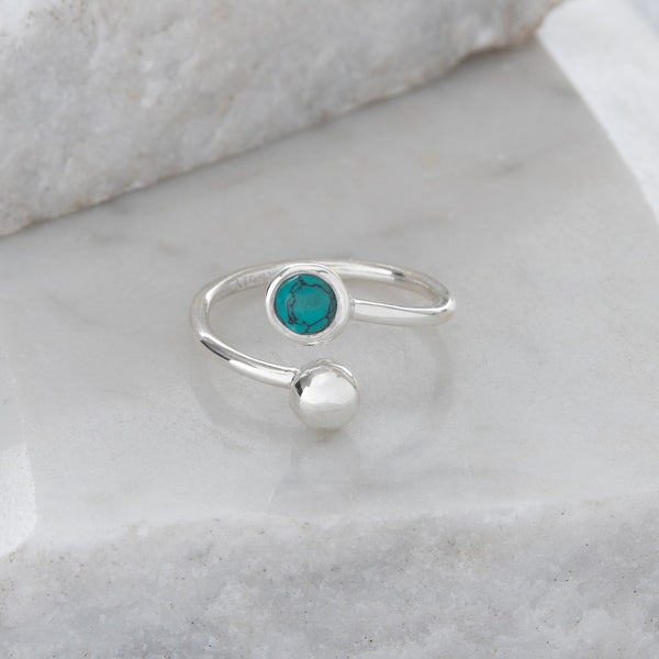Adjustable Birthstone Ring December: Sterling Silver and Turquoise