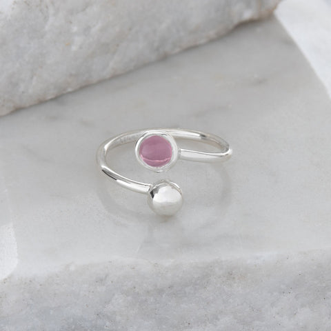 Adjustable Birthstone Ring October: Sterling Silver and Pink