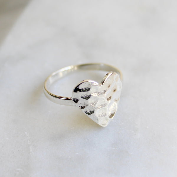 Hammered Heart Ring Sterling Silver