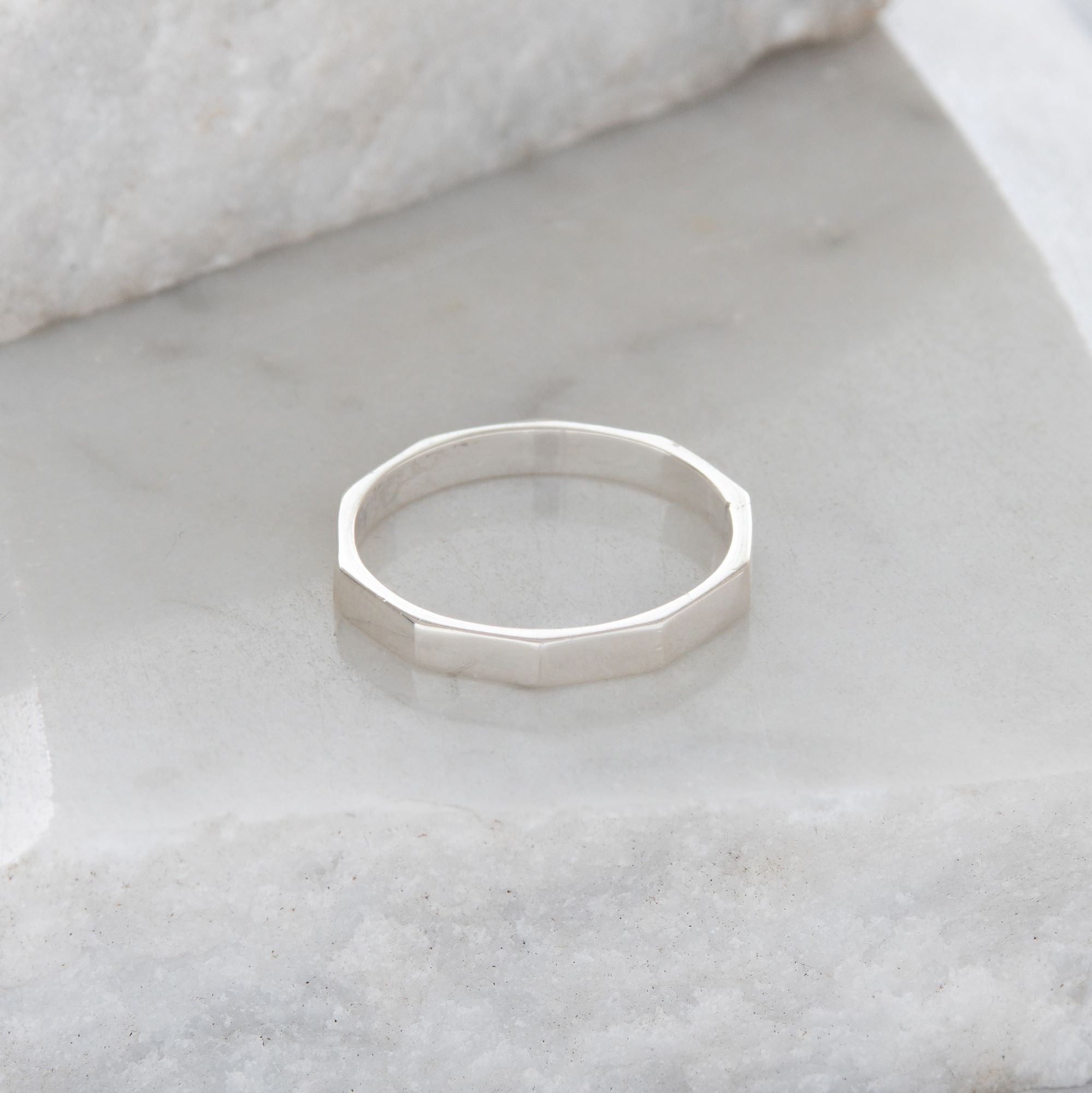 Heavy Hexagon Stacking Ring Sterling Silver