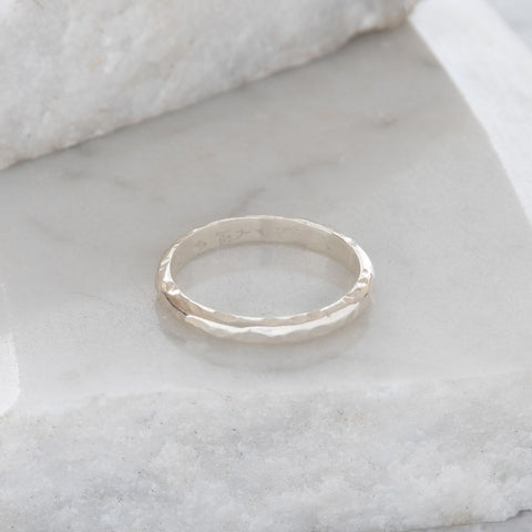 Hammered Dome Stacking Ring Sterling Silver