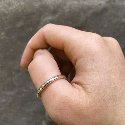 Hammered Thumb Ring Sterling Silver