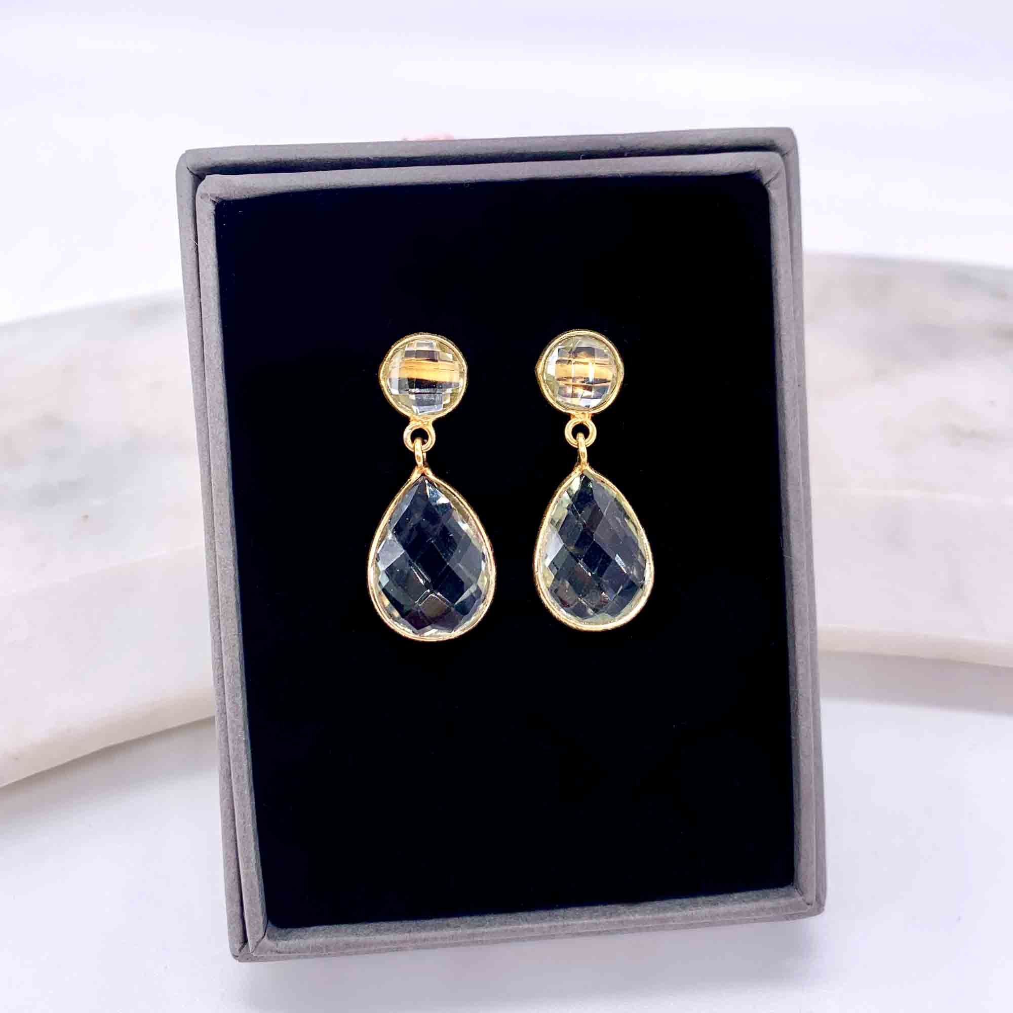 Rodgers & Rodgers Green Amethyst and Gold Vermeil Post-Drop Earrings