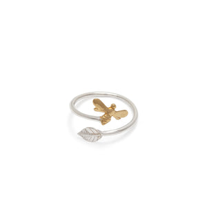 Adjustable Bee and Leaf Charm Ring Sterling Silver and Gold Vermeil