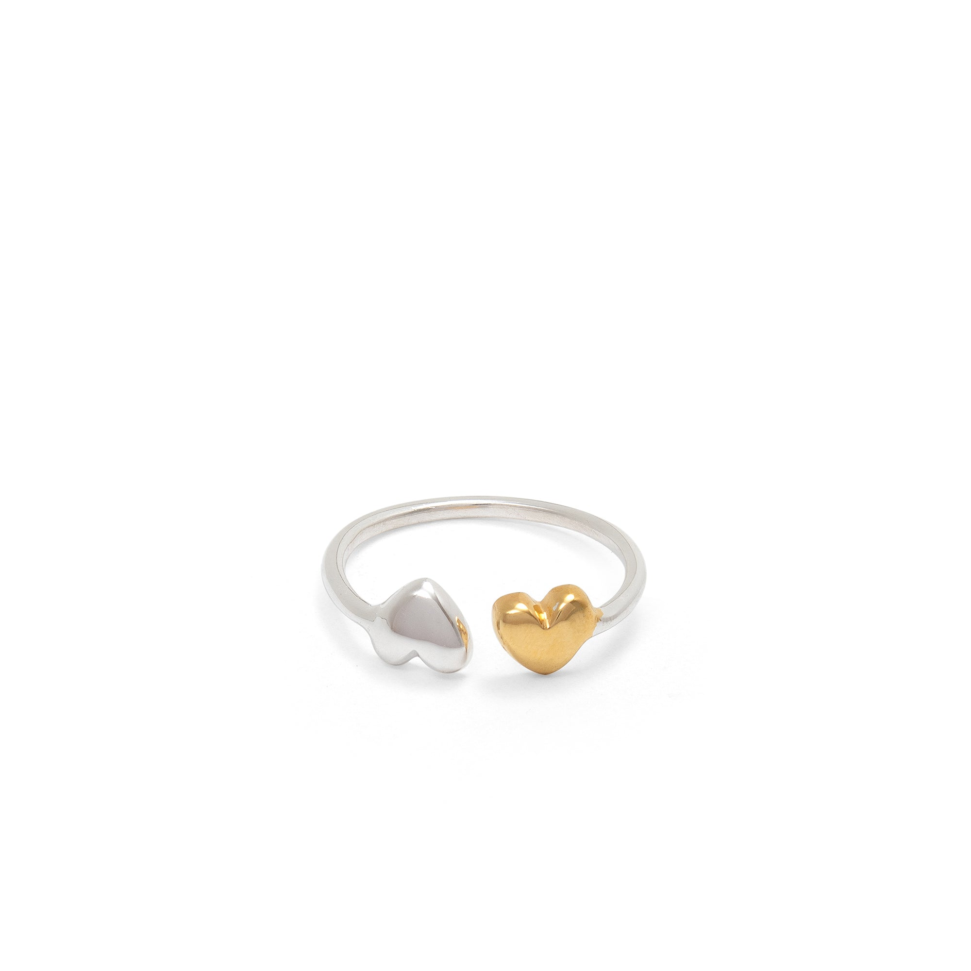 Adjustable Double Heart Charm Ring Sterling Silver and Gold Vermeil