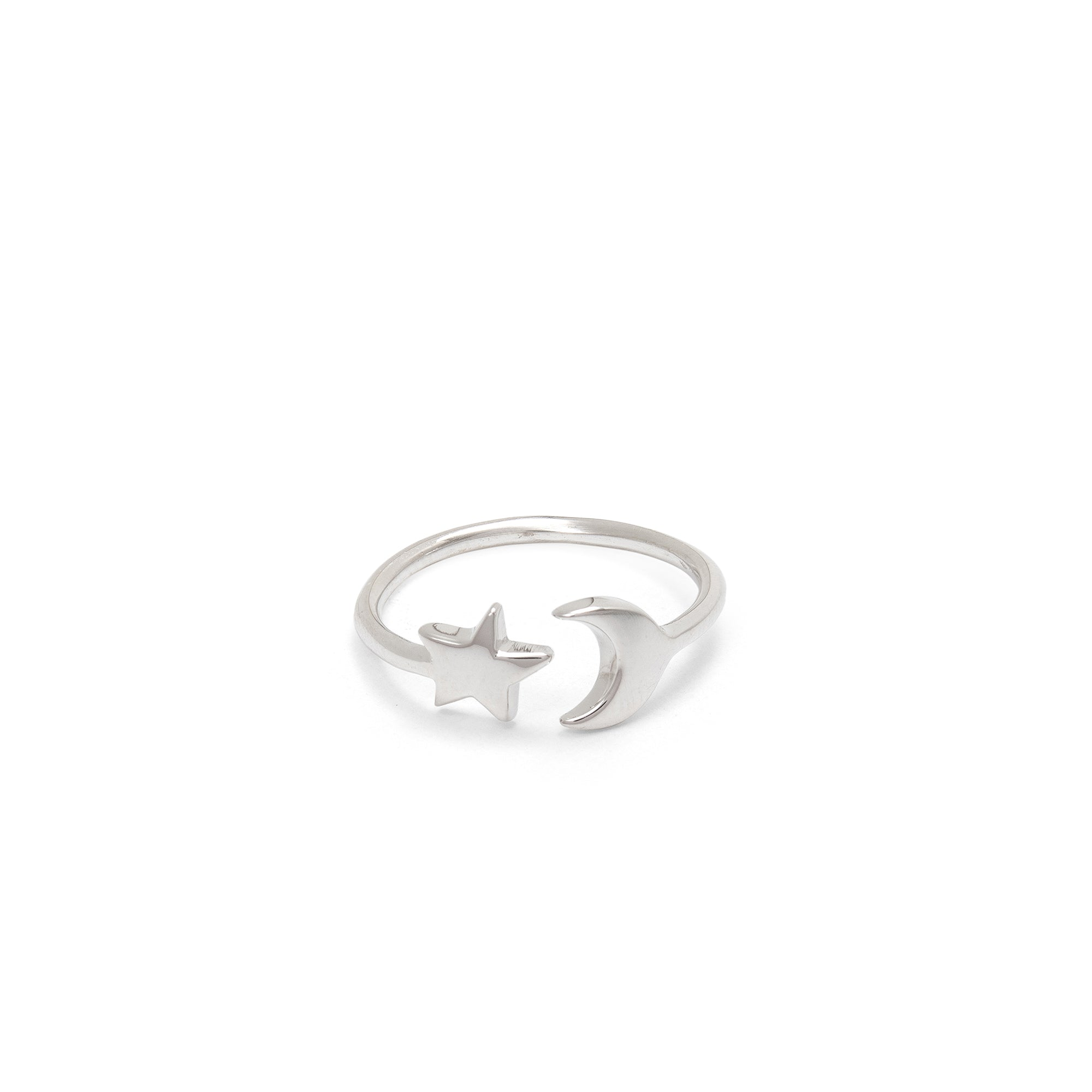 Adjustable Moon and Star Charm Ring Sterling Silver