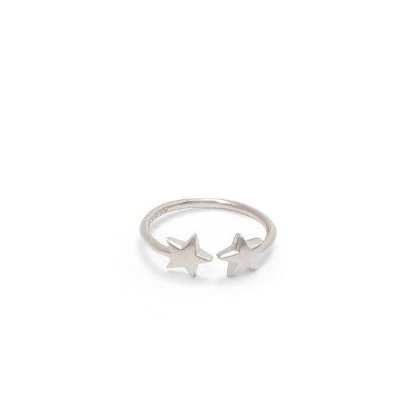 Adjustable Double Star Charm Ring Sterling Silver