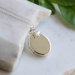 Personalised Oval Locket with Butterfly Necklace Sterling Silver