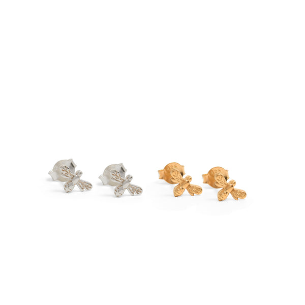 Mini Bee Stud Earrings Sterling Silver or Gold Vermeil