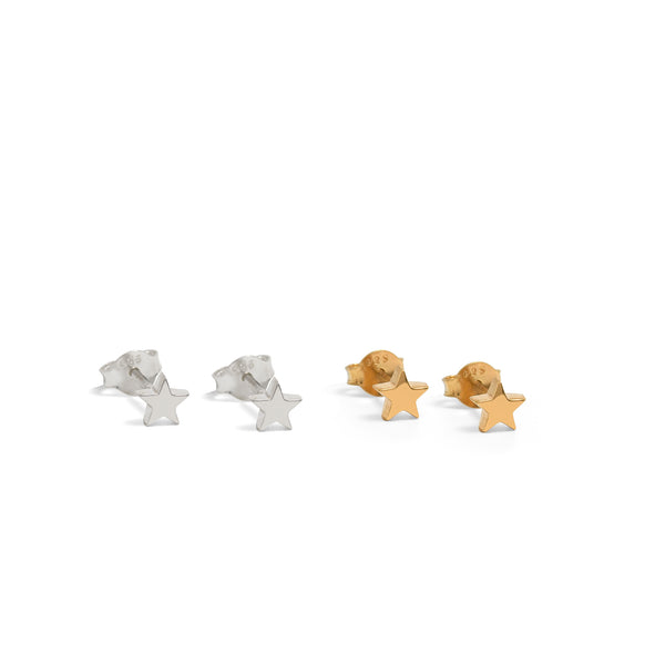 Mini Star Stud Earrings Sterling Silver or Gold Vermeil