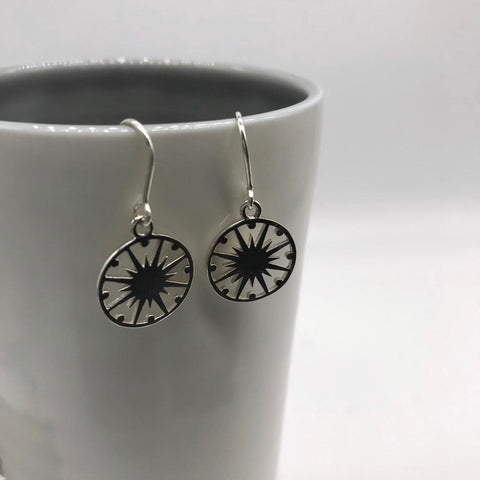 Supernova Token Hook Earrings Sterling Silver