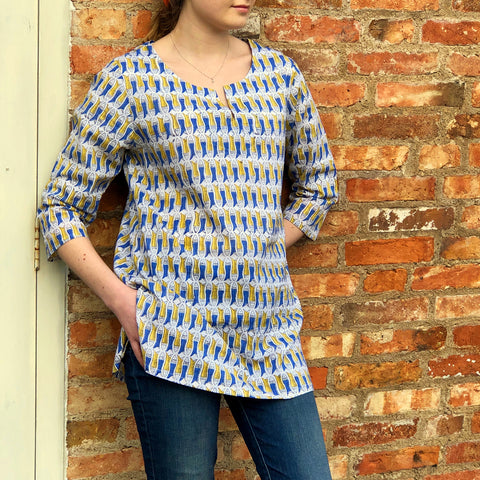 Block Printed Tunic Blue and Mustard Fish