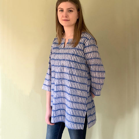 Block Printed Tunic Blue Fish