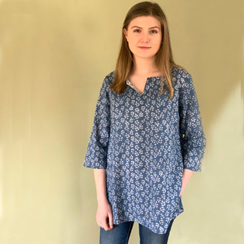 Block Printed Tunic Blue Leaf