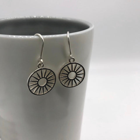 Wagon Wheel Token Hook Earrings Sterling Silver