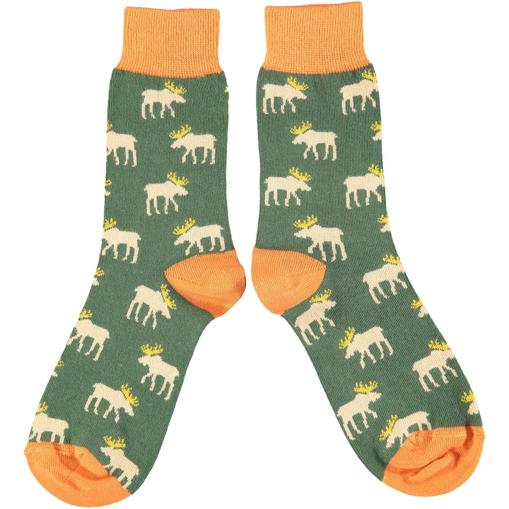 Ladies Cotton Ankle Socks - Moose